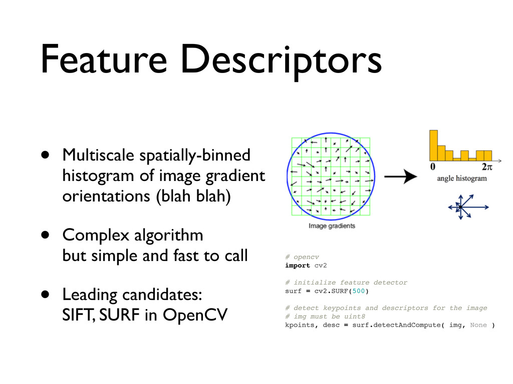 Feature Descriptors • Multiscale spatially-binn...