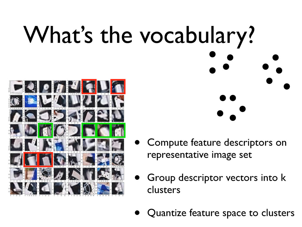 What's the vocabulary? • Compute feature descri...