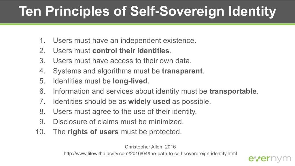 Ten Principles of Self-Sovereign Identity 1. Us...