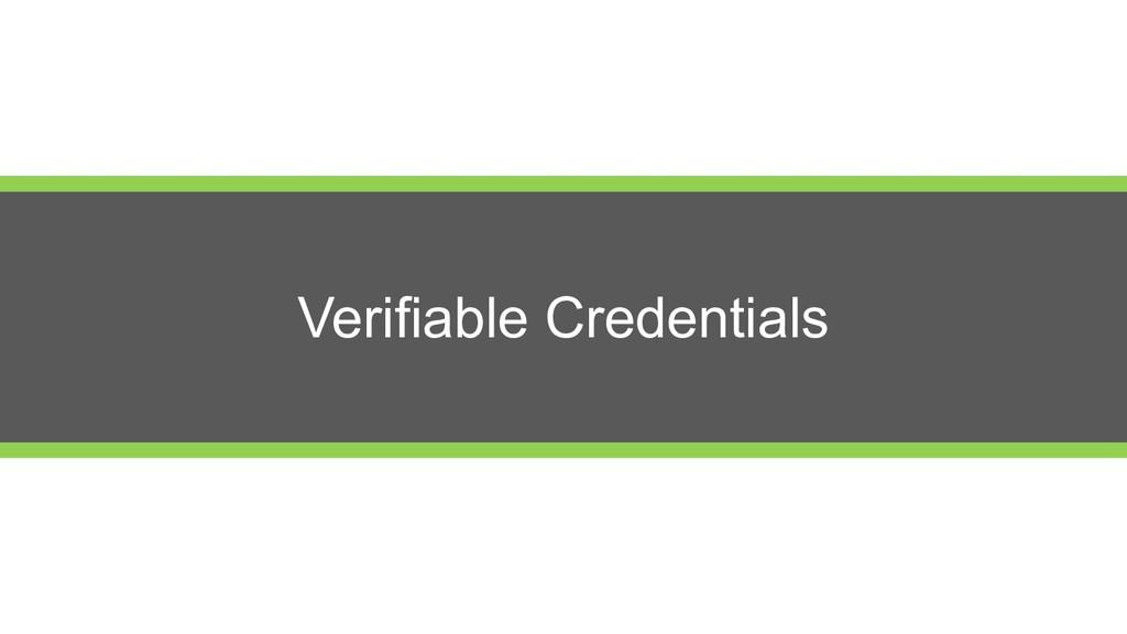 Verifiable Credentials