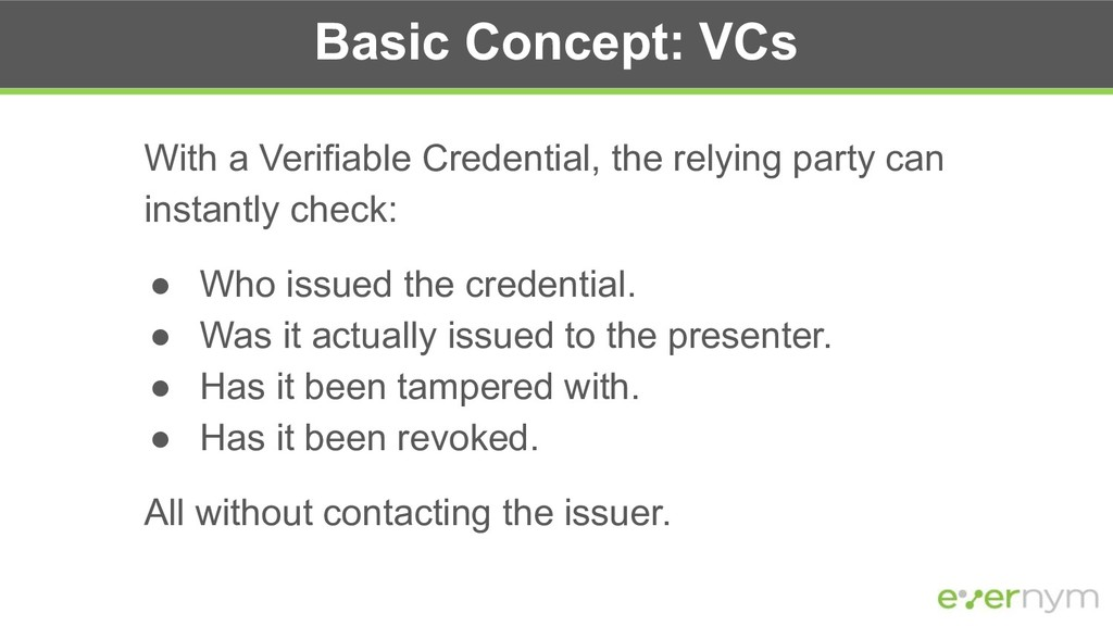 Basic Concept: VCs With a Verifiable Credential...
