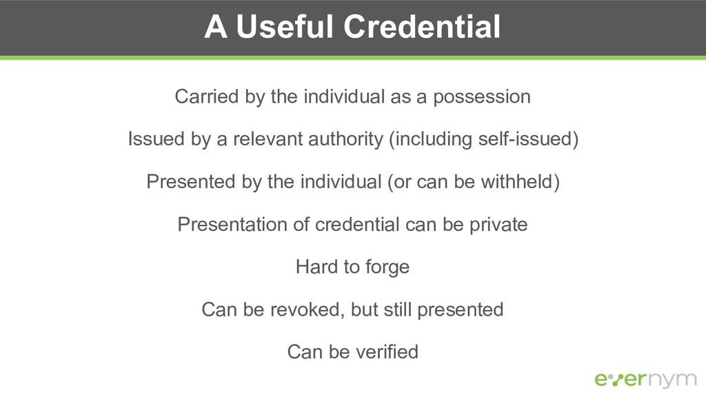 A Useful Credential Carried by the individual a...