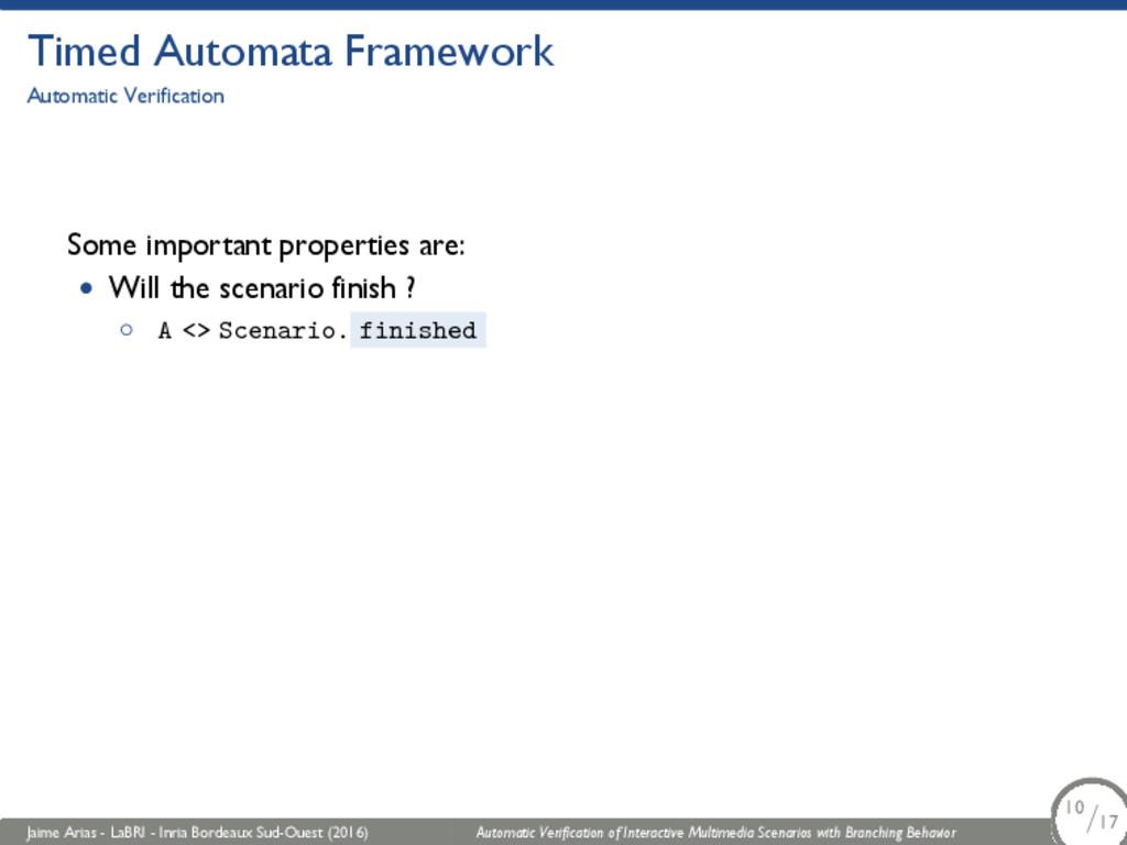 Timed Automata Framework Automatic Verification...