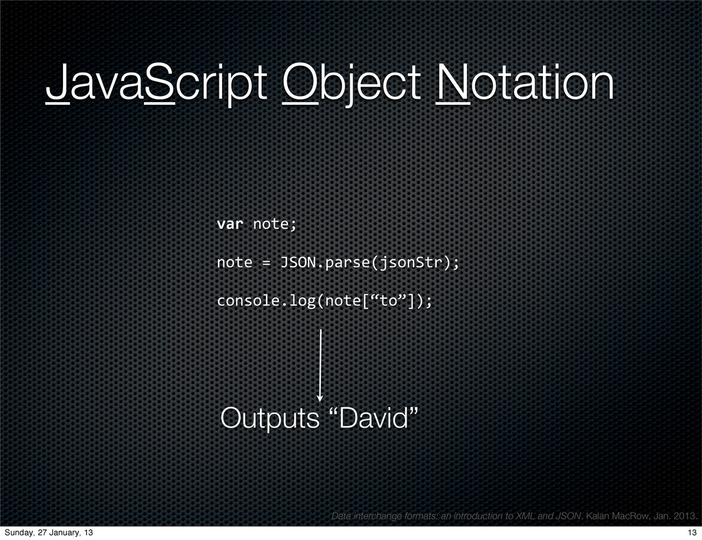 JavaScript Object Notation var	