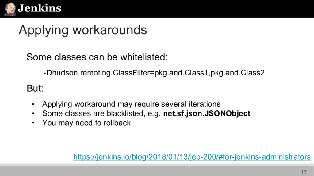 Applying workarounds Some classes can be whitel...