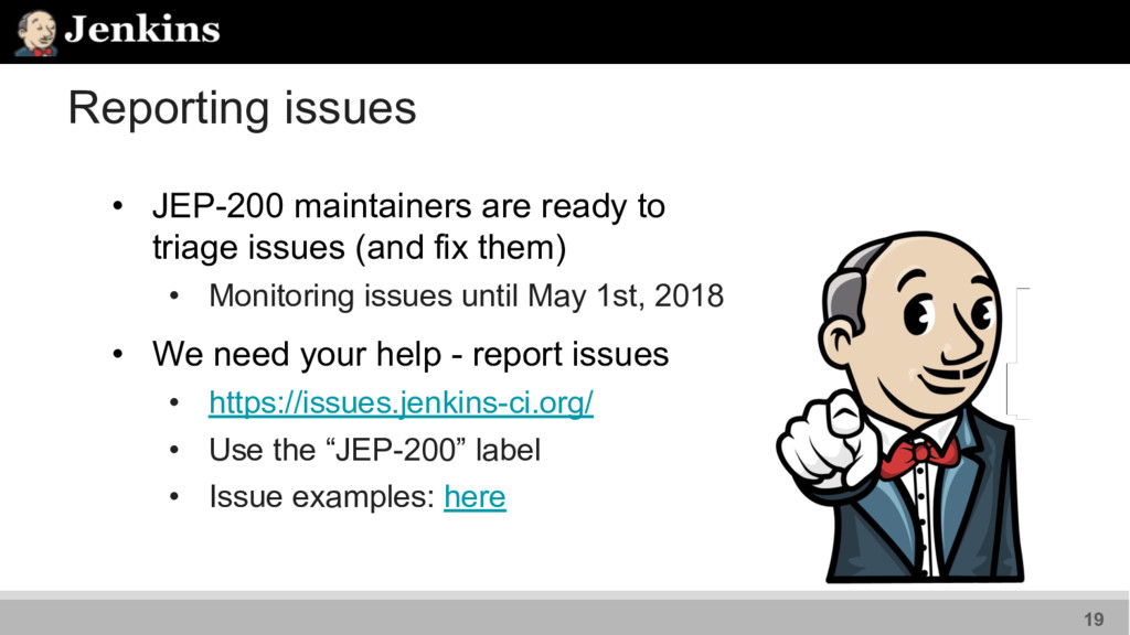 Reporting issues • JEP-200 maintainers are read...