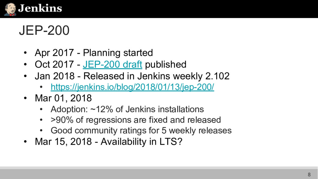 JEP-200 • Apr 2017 - Planning started • Oct 201...