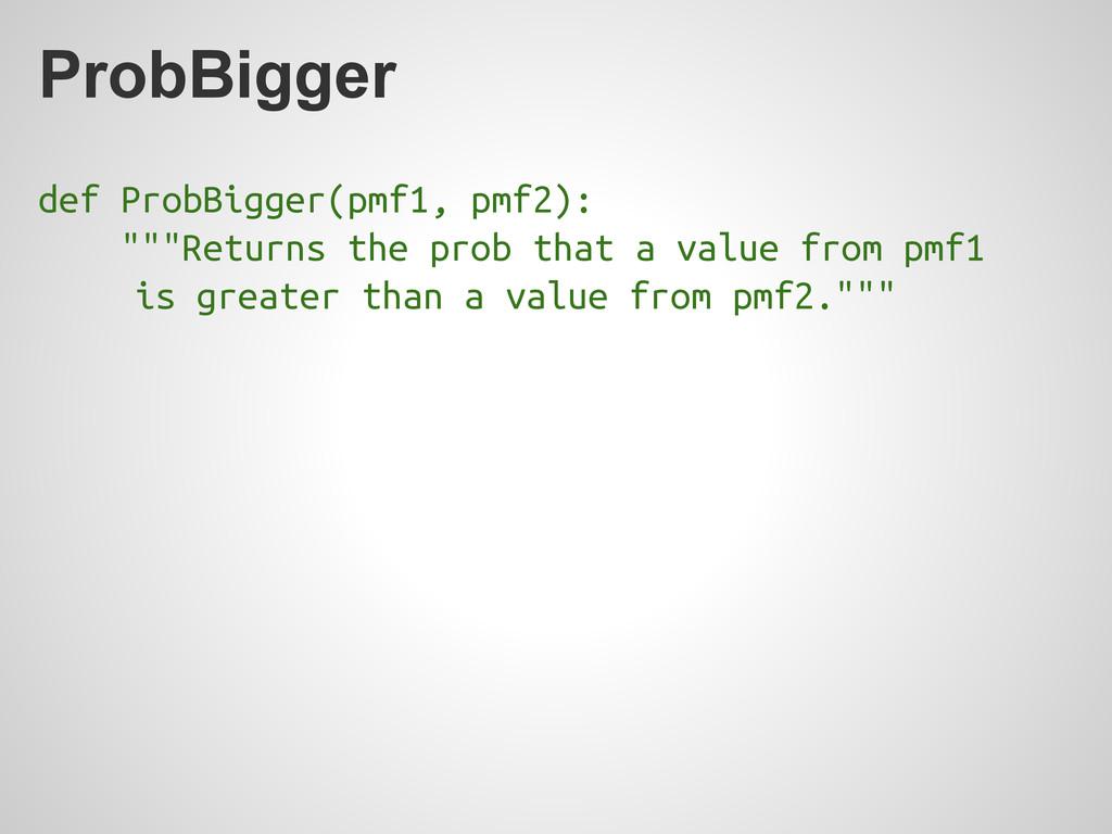 "ProbBigger def ProbBigger(pmf1, pmf2): """"""Retur..."