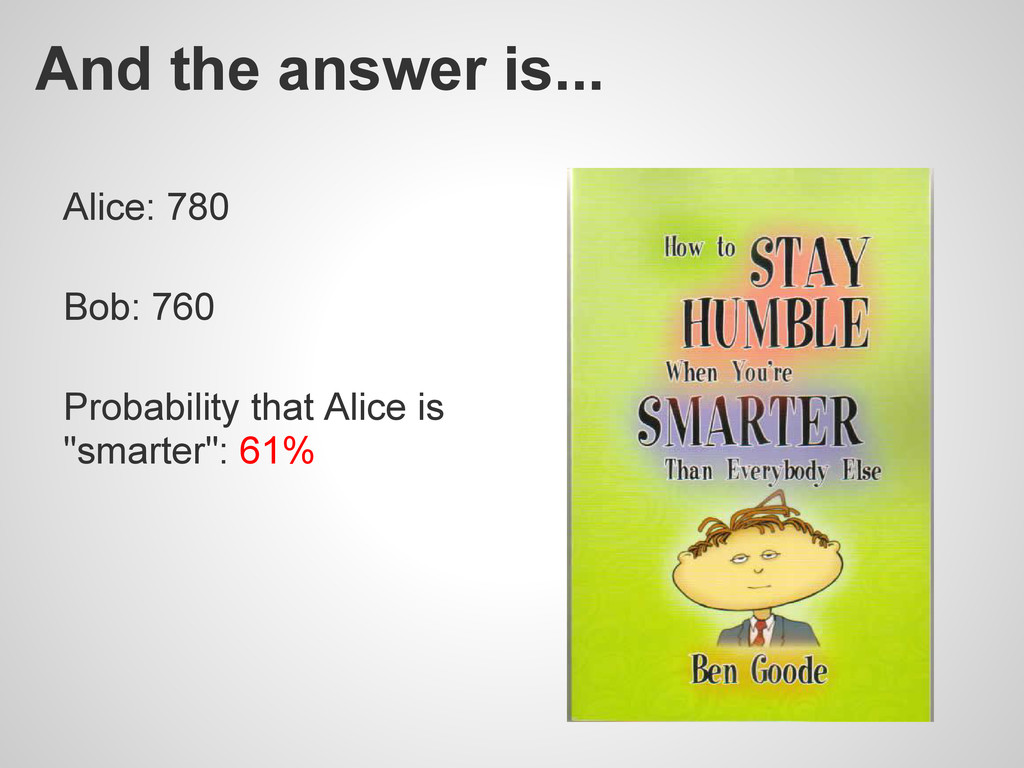 And the answer is... Alice: 780 Bob: 760 Probab...