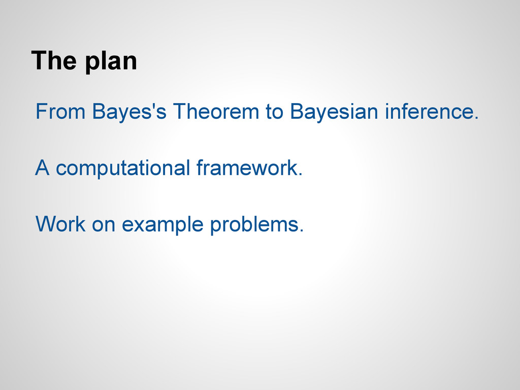 The plan From Bayes's Theorem to Bayesian infer...