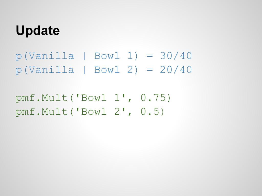 Update p(Vanilla | Bowl 1) = 30/40 p(Vanilla | ...