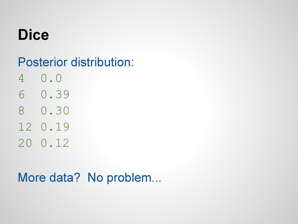 Dice Posterior distribution: 4 0.0 6 0.39 8 0.3...