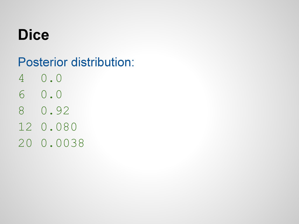 Dice Posterior distribution: 4 0.0 6 0.0 8 0.92...