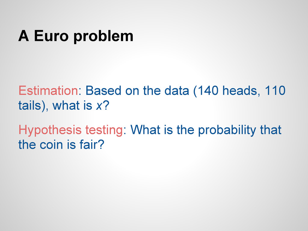 A Euro problem Estimation: Based on the data (1...