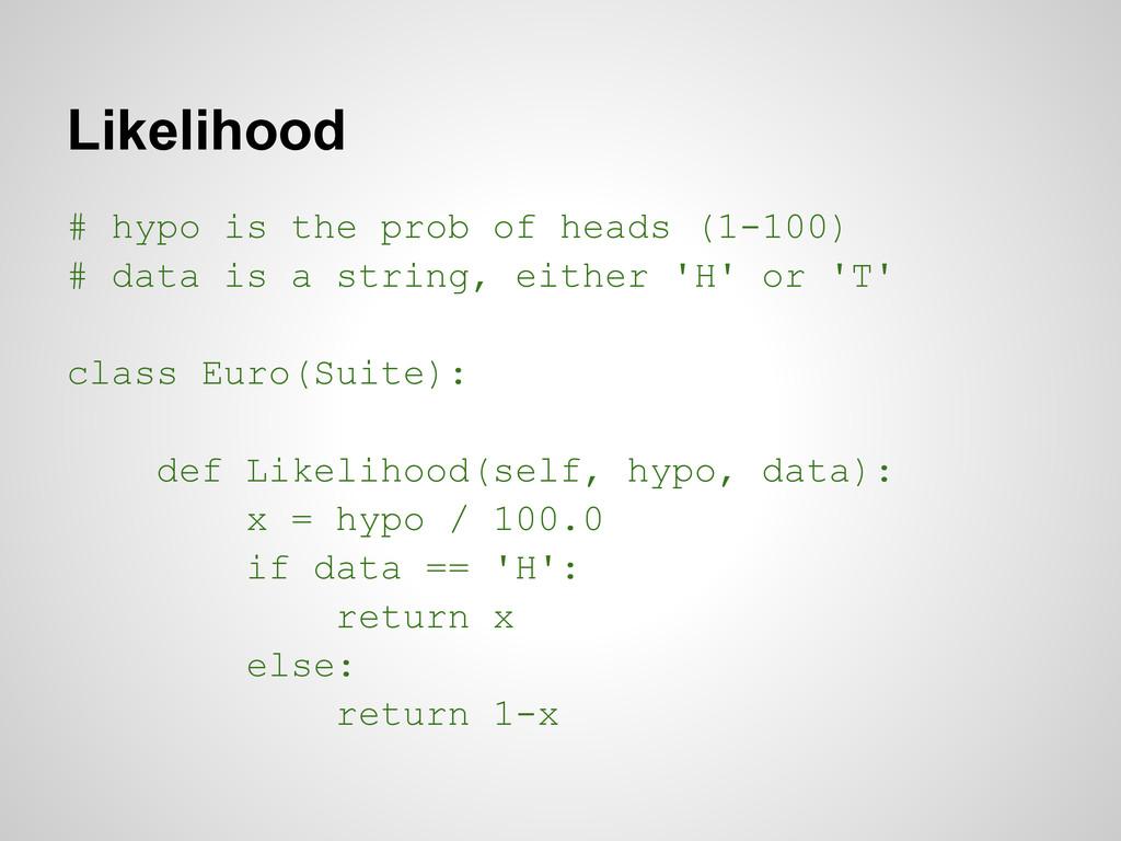 Likelihood # hypo is the prob of heads (1-100) ...