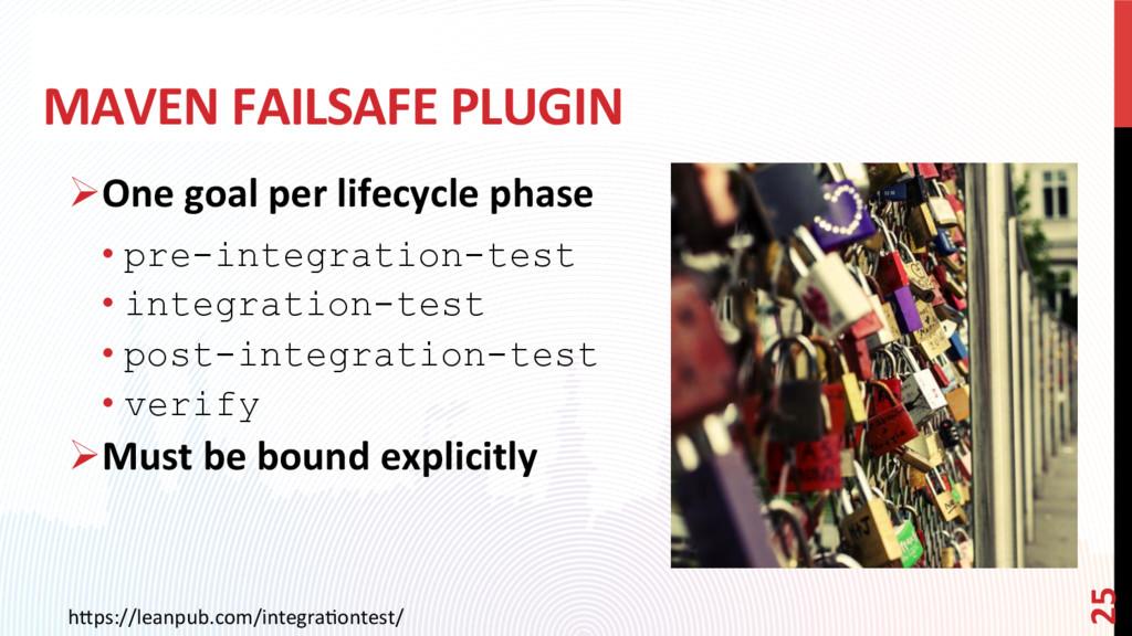 MAVEN FAILSAFE PLUGIN ØOne goal per lifecycle ...