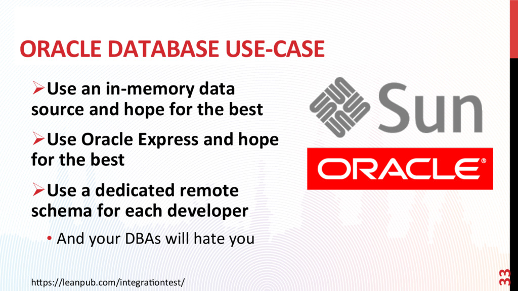 ORACLE DATABASE USE-CASE h0ps://leanpub.com/int...