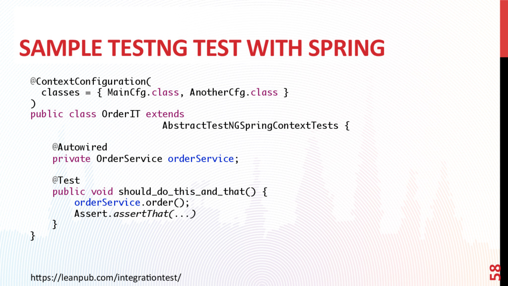 SAMPLE TESTNG TEST WITH SPRING @ContextConfigur...