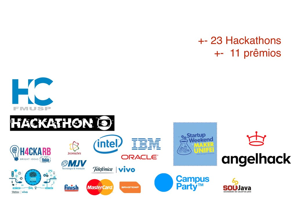 +- 23 Hackathons +- 11 prêmios