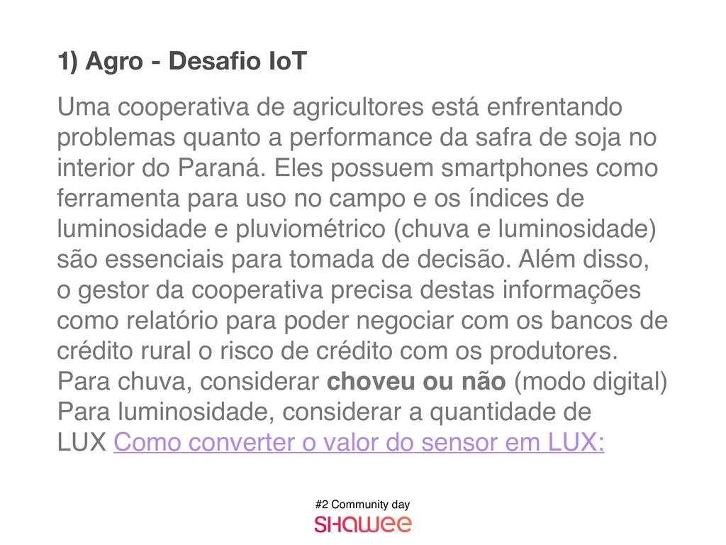 #2 Community day 1) Agro - Desafio IoT Uma coope...