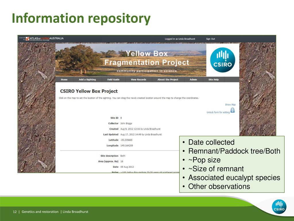 Information repository Genetics and restoration...