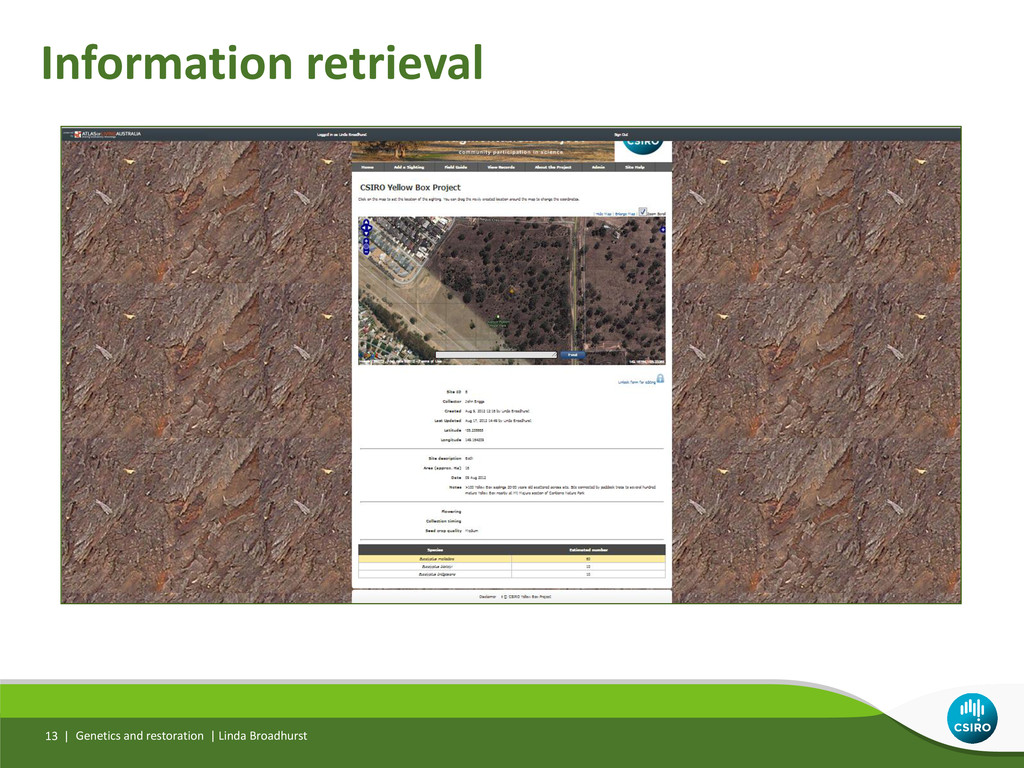 Information retrieval Genetics and restoration ...