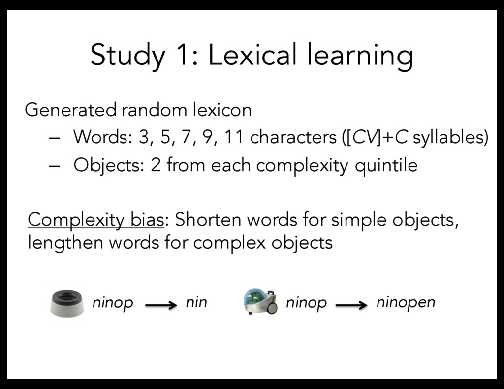 Study 1: Lexical learning Generated random lexi...