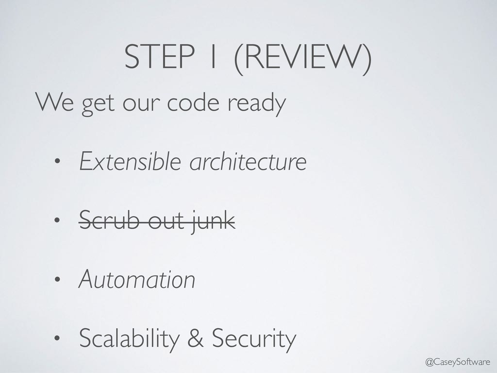 We get our code ready • Extensible architecture...