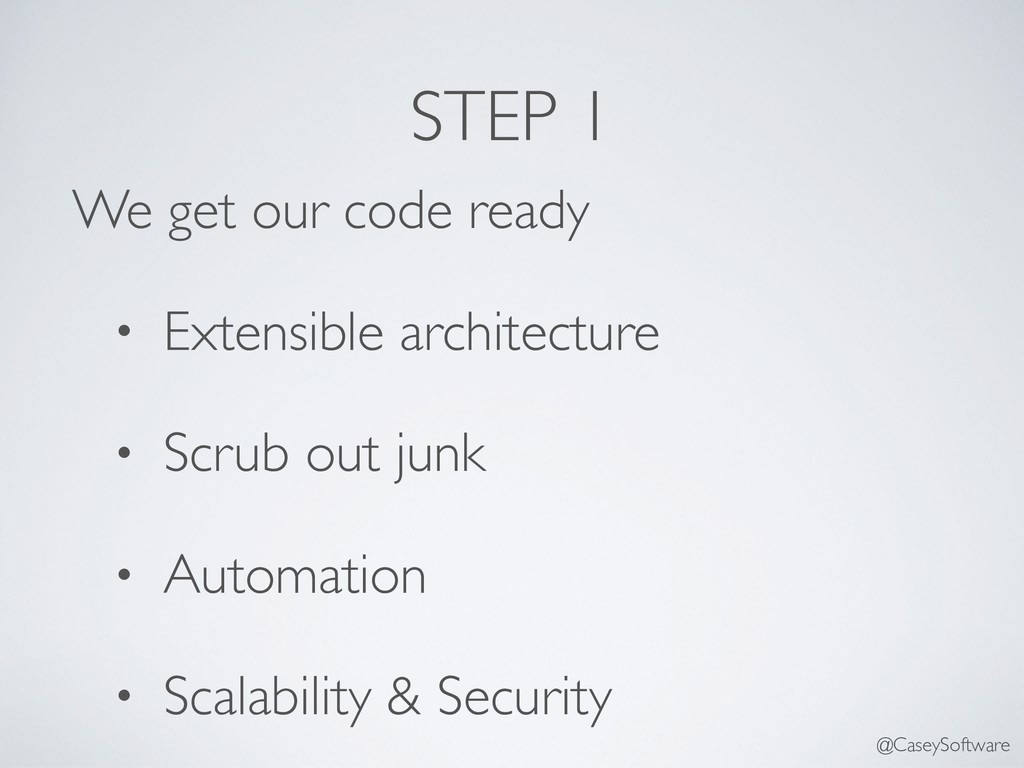 STEP 1 We get our code ready • Extensible archi...