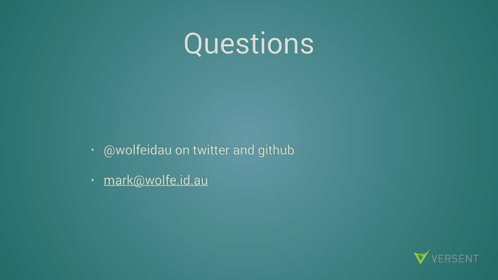 Questions • @wolfeidau on twitter and github • ...