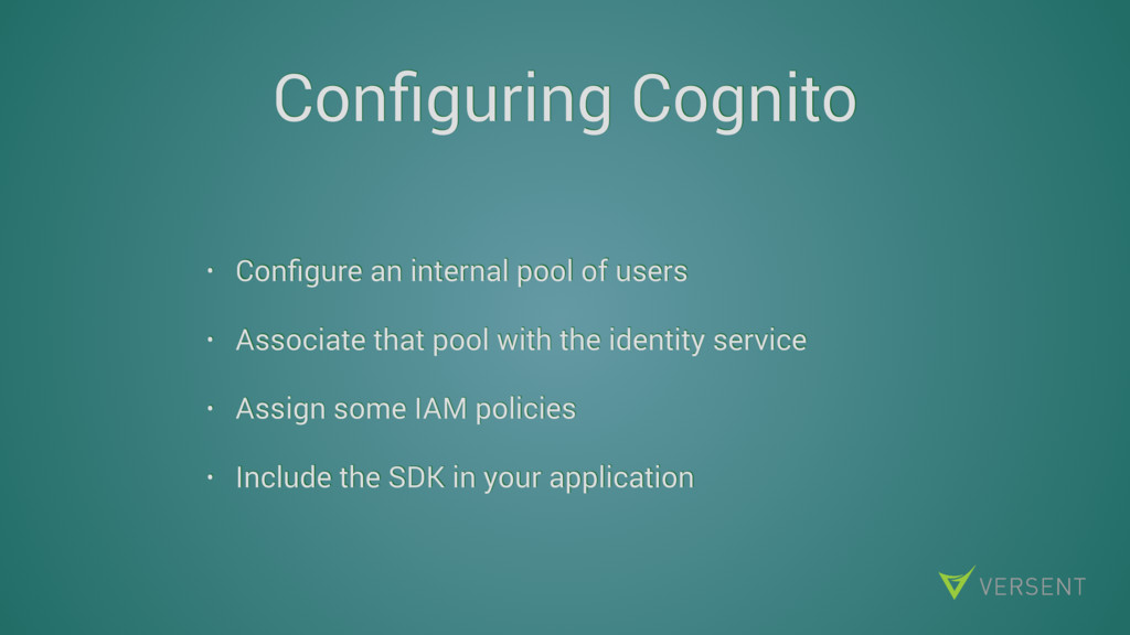 Configuring Cognito • Configure an internal pool ...