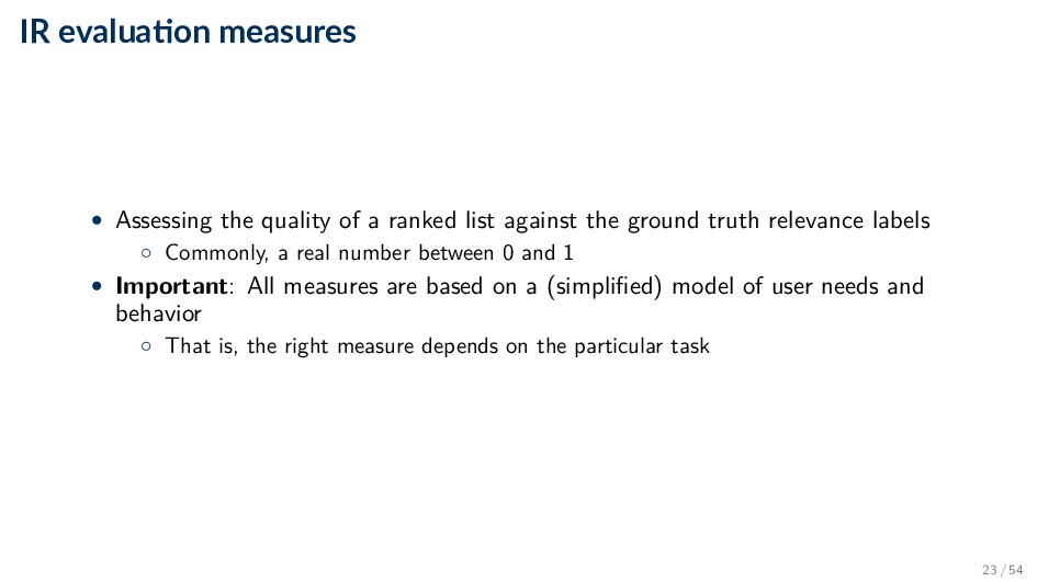 IR evalua on measures • Assessing the quality o...