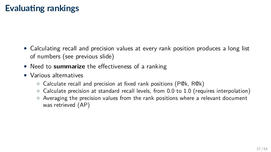 Evalua ng rankings • Calculating recall and pre...