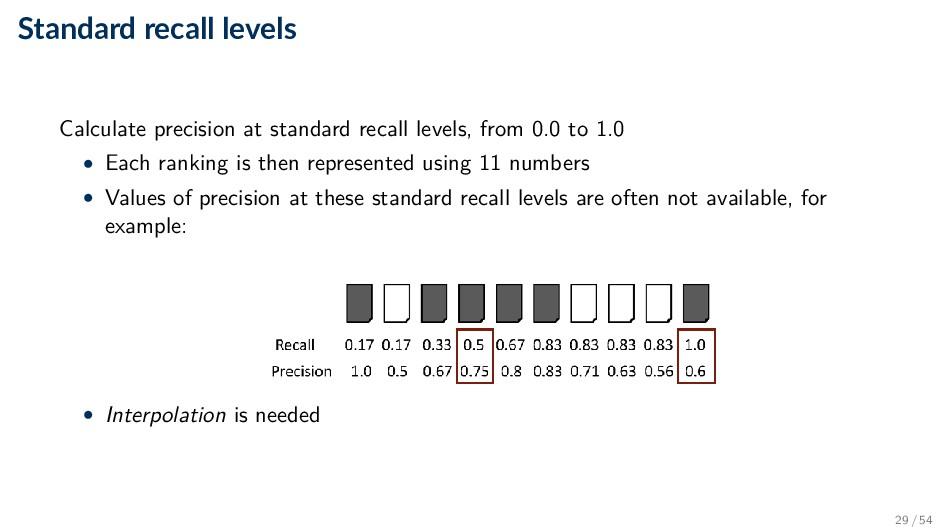 Standard recall levels Calculate precision at s...
