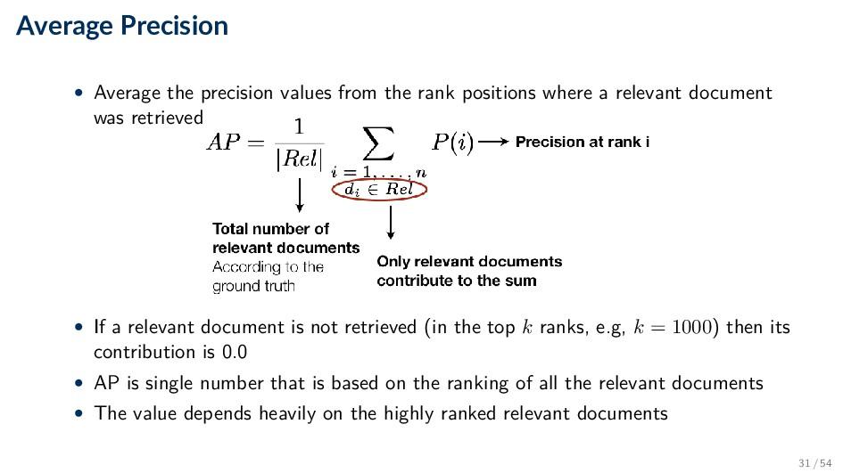 Average Precision • Average the precision value...