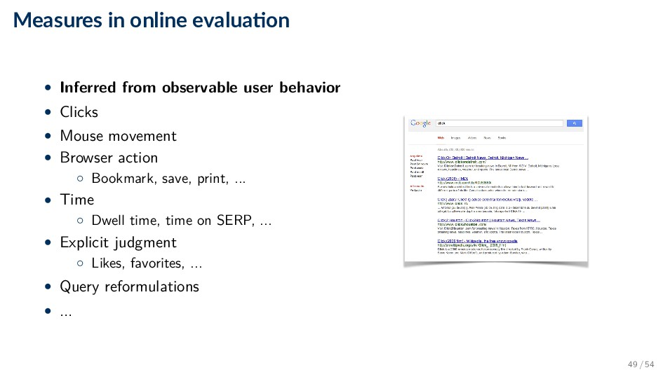 Measures in online evalua on • Inferred from ob...