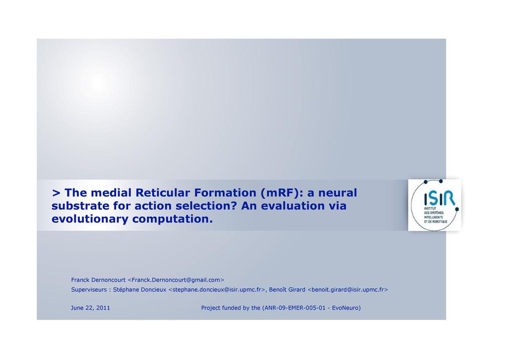 > The medial Reticular Formation (mRF): a neura...