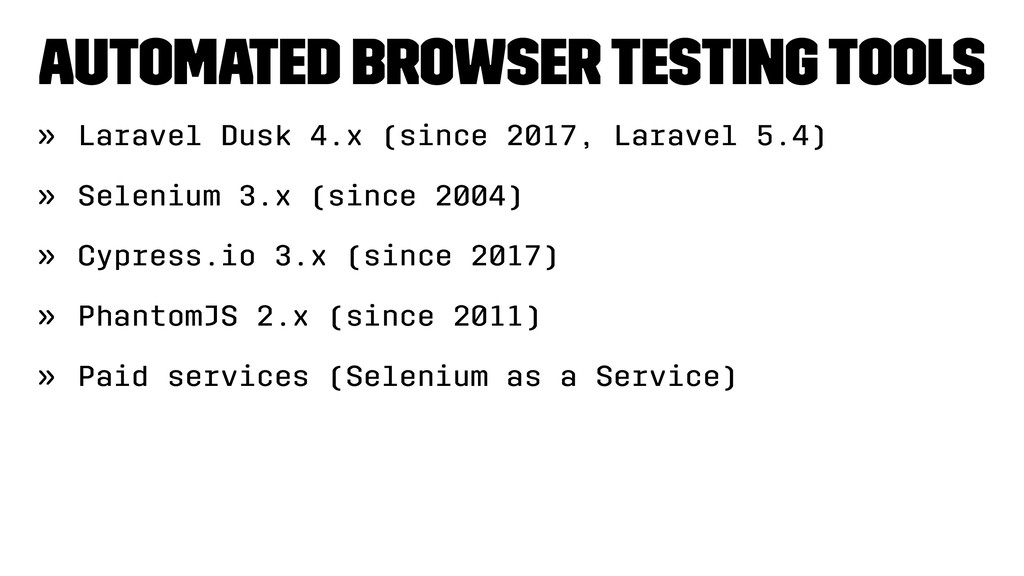 Automated Browser testing tools » Laravel Dusk ...