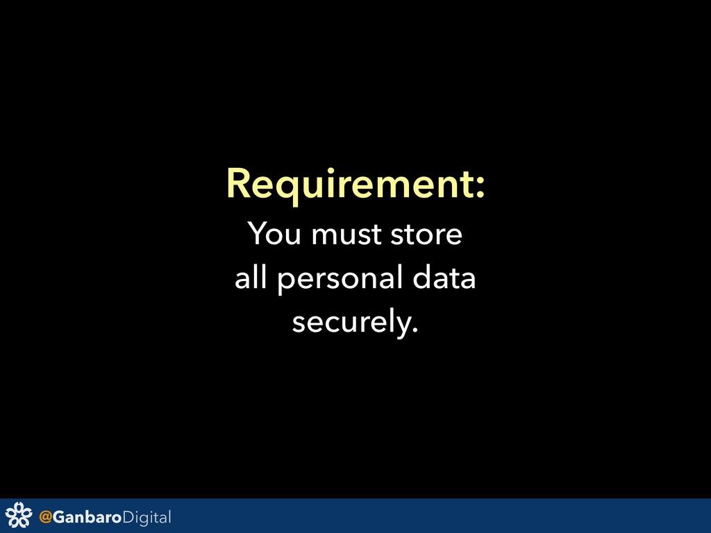 @GanbaroDigital Requirement: You must store all...