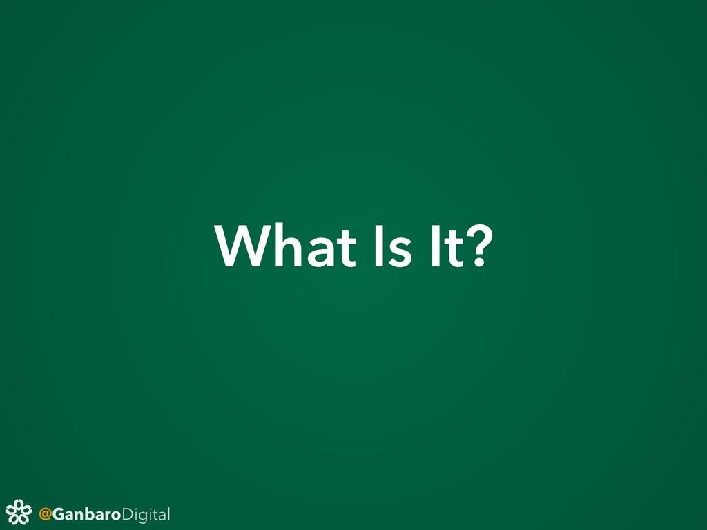 @GanbaroDigital What Is It?