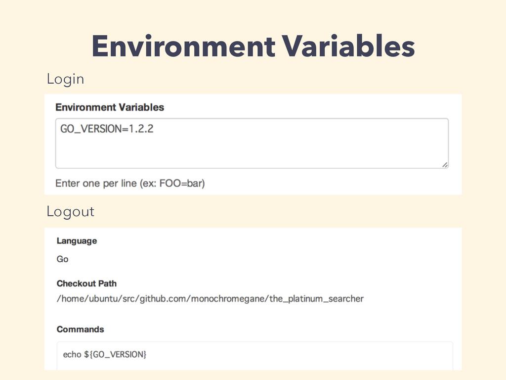 Environment Variables Login Logout