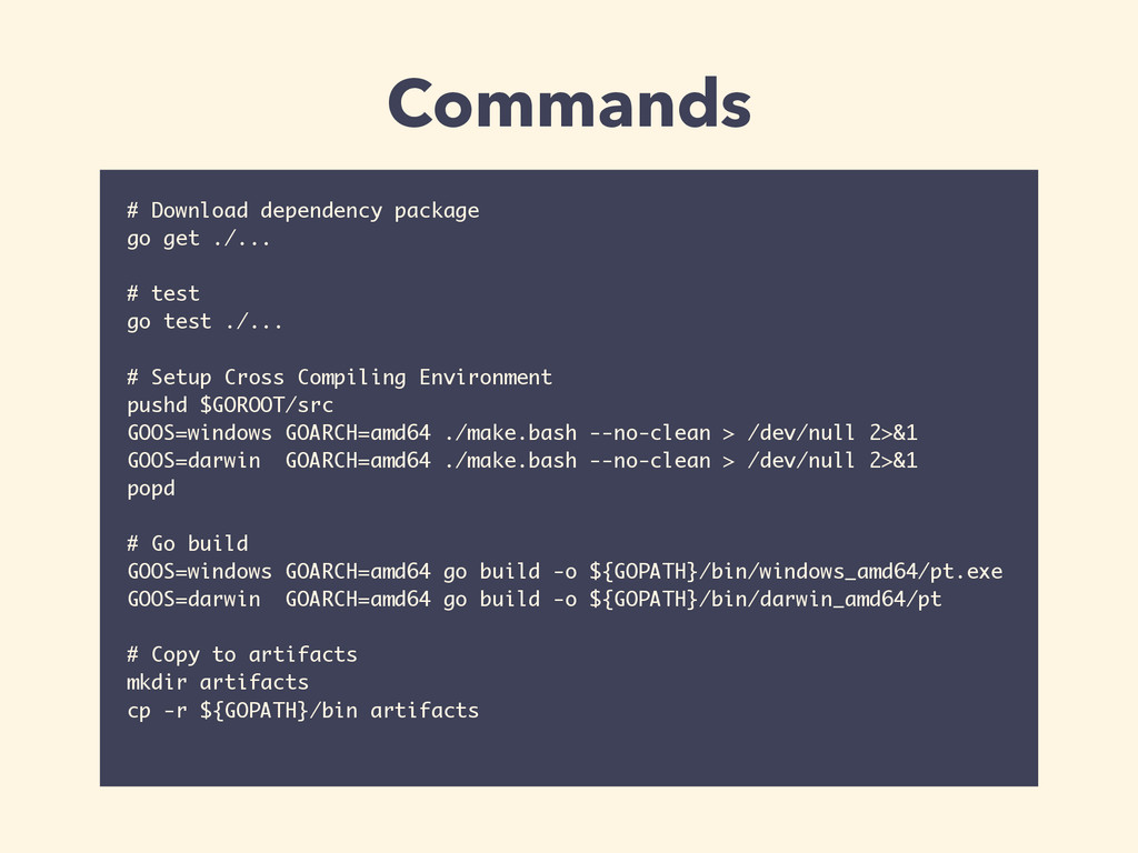 # Download dependency package go get ./... ! # ...
