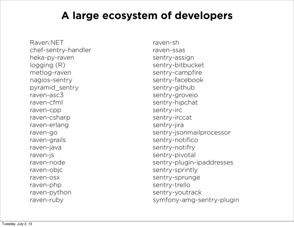 A large ecosystem of developers Raven.NET chef-...