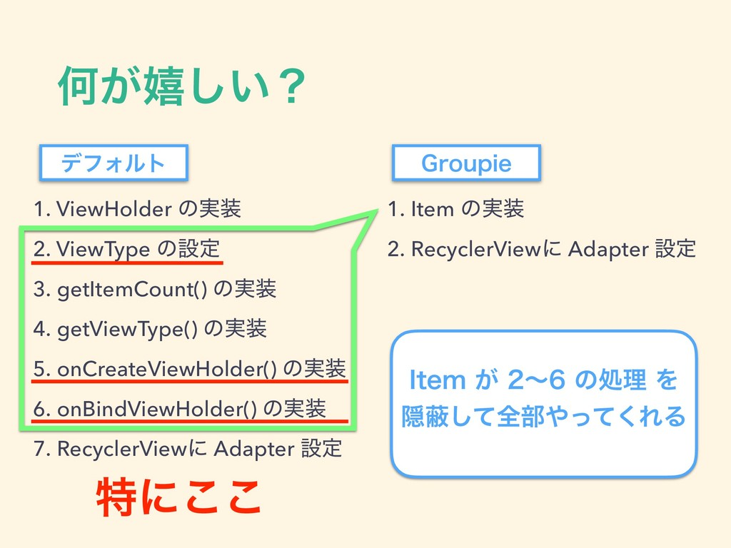 Կ͕خ͍͠ʁ 1. ViewHolder ͷ࣮ 2. ViewType ͷઃఆ 3. get...