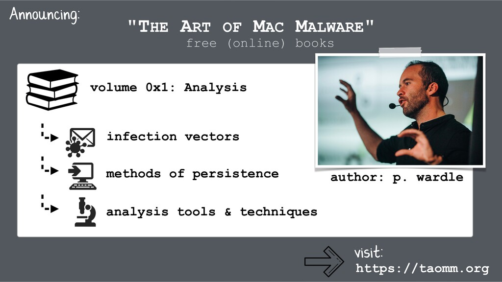 """THE ART OF MAC MALWARE"" https://taomm.org Anno..."