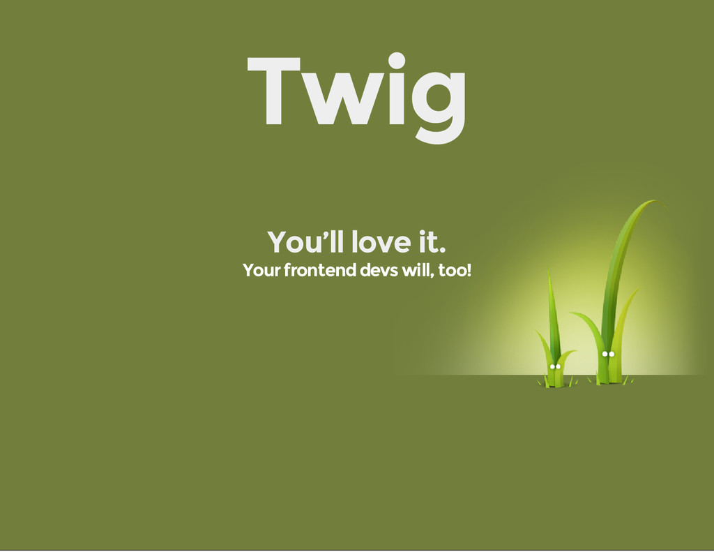 Twig You'll love it. Your frontend devs will, t...