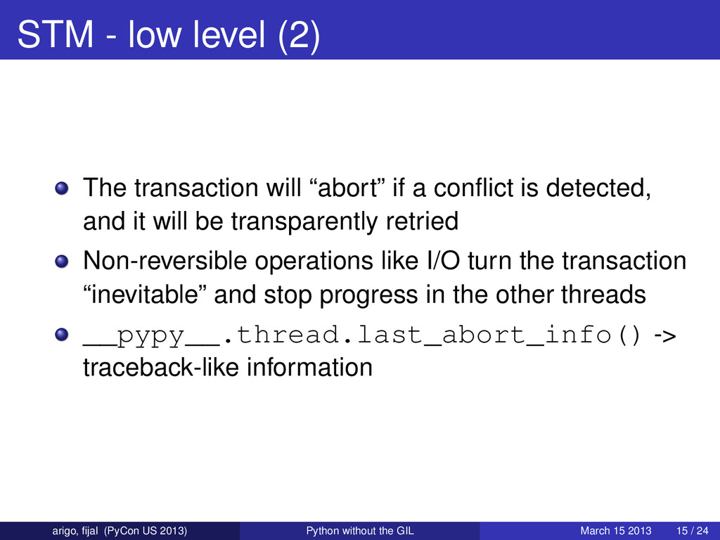 """STM - low level (2) The transaction will """"abort..."""
