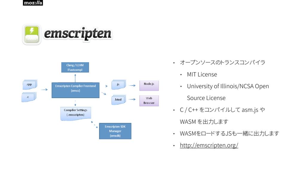 • オープンソースのトランスコンパイラ • MIT License • University ...