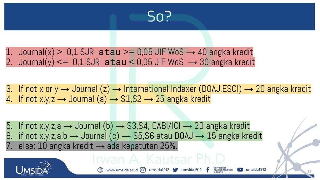 13 So? 1. Journal(x) > 0,1 SJR atau >= 0,05 JIF...