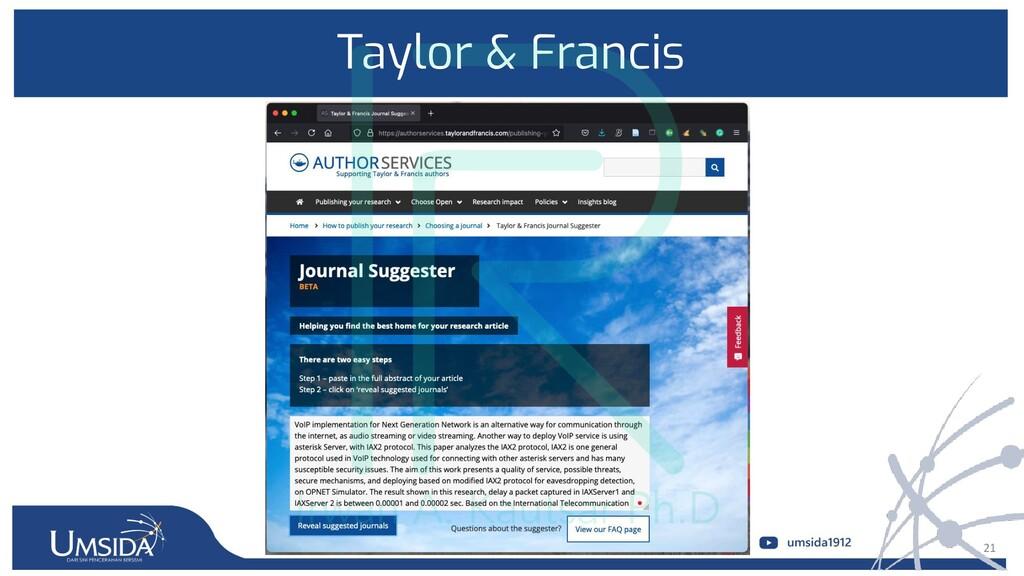 21 Taylor & Francis